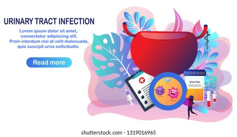 Urinary tract infection, cystitis, the doctor gives treatment for antibiotic drug, blood test. Vector flat cartoon for wallpaper, banner, web and medical apps.Vector illustration
