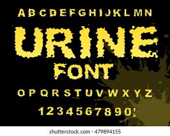 Yellow Liquid ABC Piss Typography Wee Alphabet Fluid