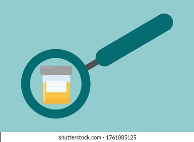 Urine test icon. Medical clipart isolated on white background.  Analysis of urine.  Test tube for analysis.  Magnifier.