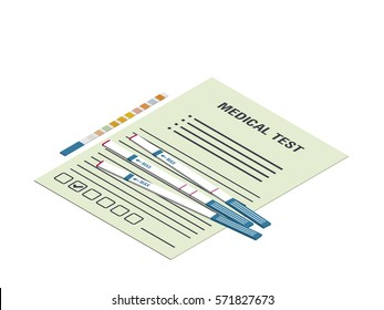 Urine test strips and the medical form.