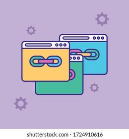 Url link vector icon. Hyperlink chain symbol. Internet URL or webpage url link flat vector illustration