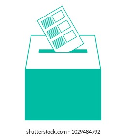 An urn for voting with ballots. Vector illustration. Bulletin with a list. Basket for voting.