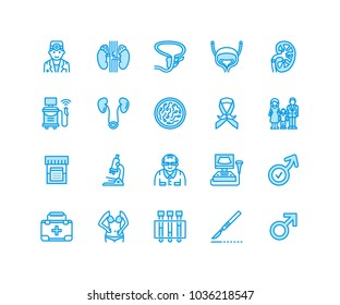 Urology vector flat line icons. Urologist, bladder, kidneys, adrenal glands, prostate. Linear medical pictograms with editable stroke for clinic, potency problem. Pixel perfect 64x64.