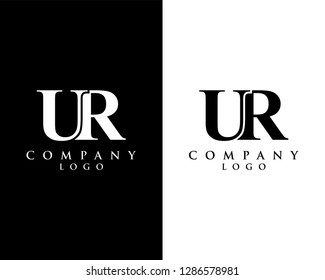 ur/ru modern logo design with black and white color that can be used for creative business and company