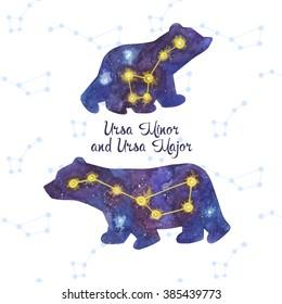 Ursa Major and Ursa Minor. Cute watercolor polar bears. The great bear stars. Vector card with constellation.