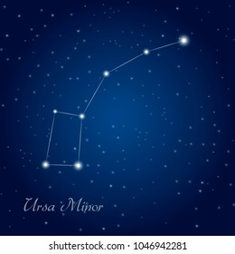 Ursa Minor constellation at starry night sky