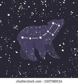 Ursa minor. Little Bear constellation in the night starry sky. Vector illustration