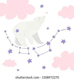 Ursa minor and Ursa Major. Little Bear constellation in the night starry sky. Vector illustration