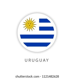 Uruguay Button Flag Vector Template Design Illustrator