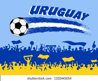 Uruguay flag colors with soccer ball and supporters. All the objects, brush strokes and silhouettes are in different layers and the text types do not need any font.