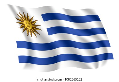 Uruguay flag. Isolated national flag of Uruguay. Waving flag of the Oriental Republic of Uruguay. Fluttering textile uruguayan flag. The National Pavilion. The Sun and Stripes.