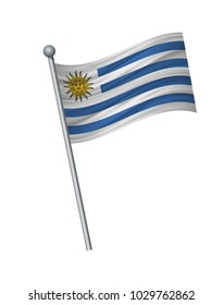 Uruguay flag on the flagpole. Official colors and proportion correctly. waving of Uruguay flag on flagpole, vector illustration isolate on white background.
