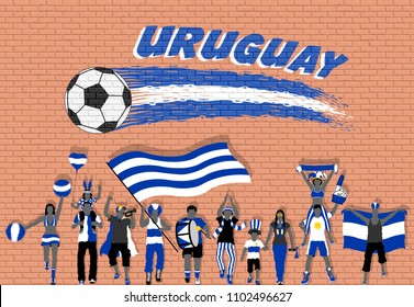 Uruguay football fans cheering with Uruguay flag colors in front of soccer ball graffiti. All the objects are in different layers and the text types do not need any font.