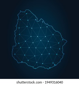 uruguay Map Abstract mash line and point scales on dark background. Wire Frame 3D mesh polygonal network line.