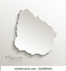 Uruguay map card paper 3D natural vector