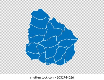 uruguay map - High detailed blue map  with counties/regions/states of uruguay. uruguay map isolated on transparent background.