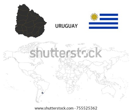 Uruguay Map On World Map Flag Stock Vector Royalty Free 755525362