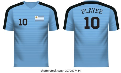 Uruguay national soccer team shirt in generic country colors for fan apparel.