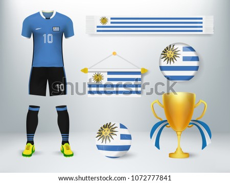 70f221e2a9c Concept design of soccer elements with uniform,exchange flag,soccer  ball,cheering scarf and trophy cup with flag in vector illustration - Vector