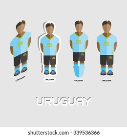 Uruguay Soccer Team Sportswear Template. Front View of Outdoor Activity Sportswear for Men and Boys. Digital background vector illustration. Stylish design for t-shirts, shorts and boots.