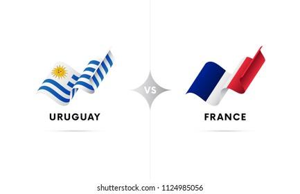 Uruguay versus France. Football. Vector illustration.