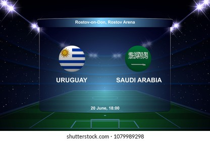 Uruguay vs Saudi Arabia football scoreboard broadcast graphic soccer template