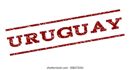 Uruguay watermark stamp. Text tag between parallel lines with grunge design style. Rubber seal stamp with dust texture. Vector dark red color ink imprint on a white background.