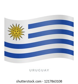 Uruguay waving flag vector icon. National symbol of Uruguay. Vector illustration isolated on white.