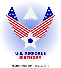 US Air Force Birthday event, which is celebrated in September 18. Merit badge and fighter plane silhouette are depicted. Flat concept vector for poster, template, banner, background, flyer.