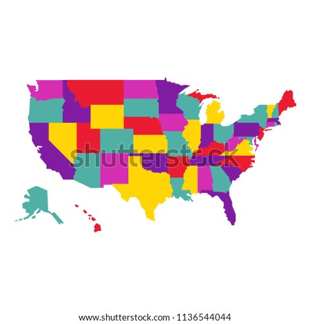 Us America Map Vector Eps 08 Stock Vector Royalty Free 1136544044