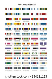 U.S. Army Award Medal Ribbons. Complete vector set.