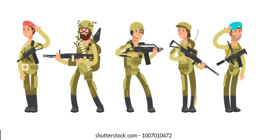 Us army cartoon man and woman soldiers in uniform. Military concept vector illustration. American soldier profession, officer and recruit