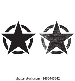 US army sign, Army star, war symbol, vector, Vintage retro grunge black star in circle on white background