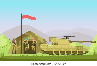 Us army soldier with gun in uniform. Cartoon combat. Military vector background. Army soldier combat in camouflage illustration