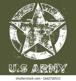 US Army Star. Military Patriotic Symbol. Grunge Design.