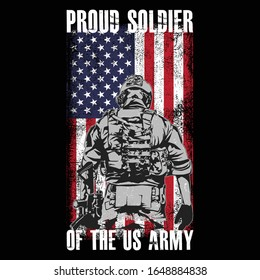 US. Army T shirt Design- Proud Soldier Of The US Army