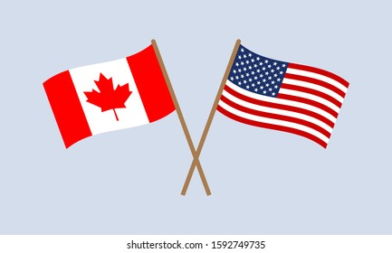 US and Canada crossed flags on stick. American and Canadian national symbols. Vector illustration.
