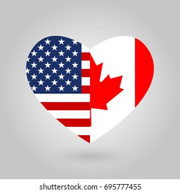 US and Canada flags icon in the heart shape. American and Canadian friendship symbol. Vector illustration.
