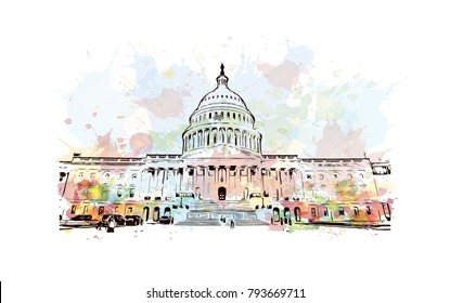 US Capitol Building in Autumn - Washington DC United States. Watercolor splash with sketch illustration in vector.
