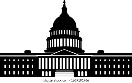 US Capitol Building Silhouette Vector