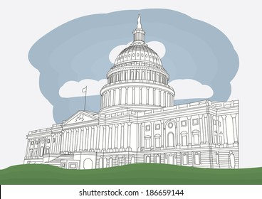 The US Capitol in Washington DC. vector illustration. Business travel and tourism concept.  Image for presentation, banner, placard and web site