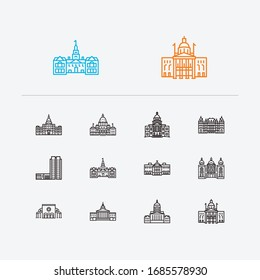 Us capitols icons set. Arizona state capitol and us capitols icons with landscape, delaware state capitol, new york state capitol. Set of us for web app logo UI design.