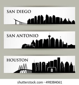 US cities skylines - vector illustration