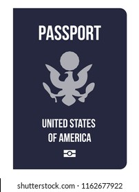US citizenship biometric passport. Travel or Immigration to United States of America. Concept of world power passports from developed countries in the USA, change nationality. National symbol eagle