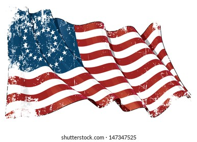 US Civil War Union -37 Star Medalion- Flag Grunge. Grunge Illustration of a waving American civil war Union (North) flag against white background