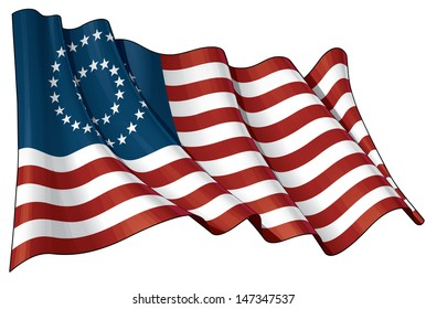 US Civil War Union -37 Star Medallion- Flag. Illustration of a waving American civil war Union (North) flag against white background