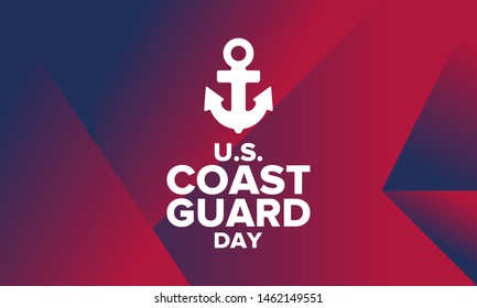 U.S. Coast Guard Day in United States. Federal holiday, celebrated annual in August 4. Sea style. Design with anchor and shield. Patriotic element. Poster, greeting card, banner and background. Vector