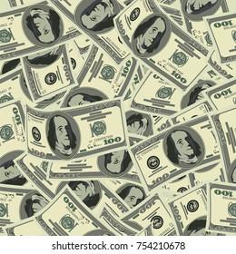 US dollar banknote vector seamless pattern.