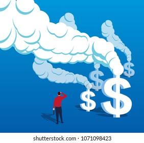 US dollar smoke billowing