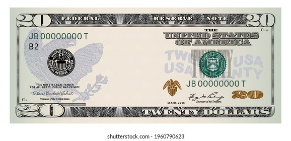 US Dollars 20 banknote -American dollar bill cash money isolated on white background.